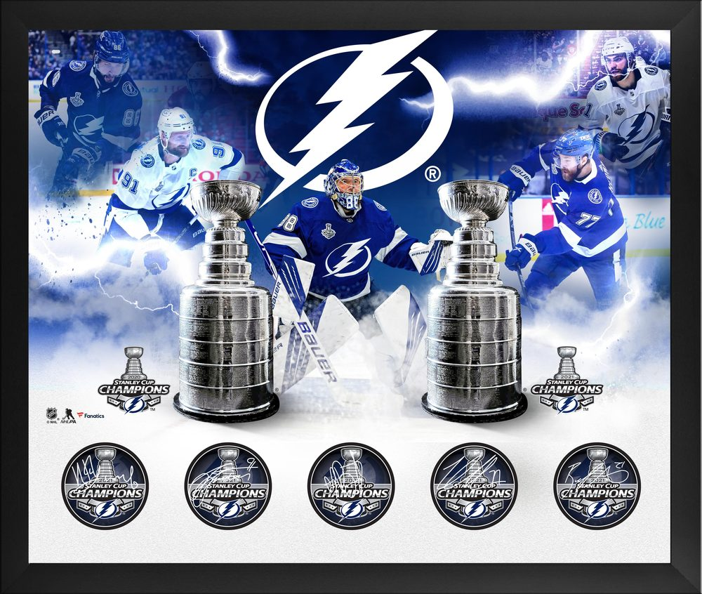 Tampa Bay Lightning 2021 Stanley Cup Champions Framed Autographed 20
