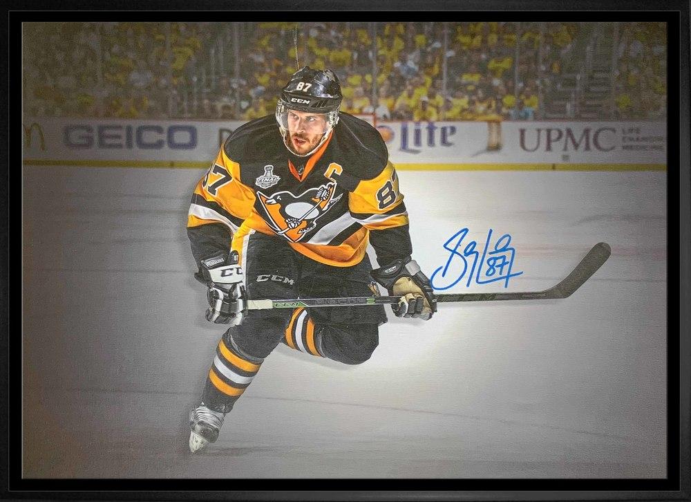 Sidney Crosby Pittsburgh Penguins Signed Framed 20x29 Skating Spotlight Canvas