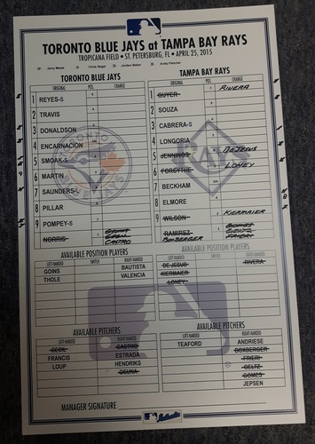 Photo of Authenticated Game Used Line-Up Card - April 25, 2015: 1st Time in MLB History that 3 Canadian Position Player started for the same team (Martin, Pompey and Saunders). 11 inches by 17 inches.