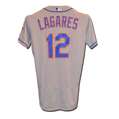 Photo of Juan Lagares #12 - Game Used Road Grey Jersey - Mets vs. Phillies - 9/30/17