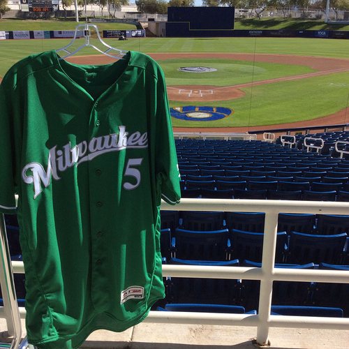 Photo of Jonathan Villar 2018 Team-Issued St. Patrick's Day Jersey