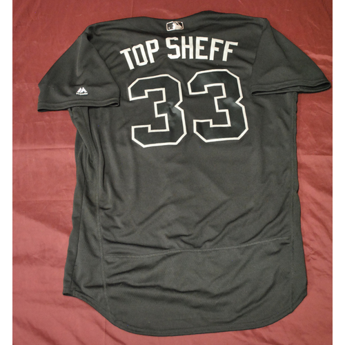 "Photo of Justus ""TOP SHEFF"" Sheffield Seattle Mariners Game-Used 2019 Players' Weekend Jersey"