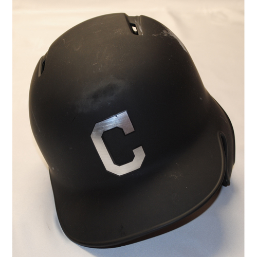 "Photo of Franmil ""La Mole"" Reyes Cleveland Indians Game-Used 2019 Players' Weekend Helmet"