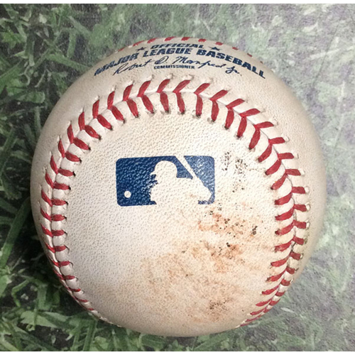 Photo of Game-Used Baseball CIN@MIL 06/23/19 - Anthony DeSclafani - Christian Yelich: RBI Double