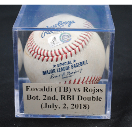Photo of Game-Used Baseball: Nathan Eovaldi (TB) vs Miguel Rojas, Bot. 2nd, RBI Double (July, 2, 2018)