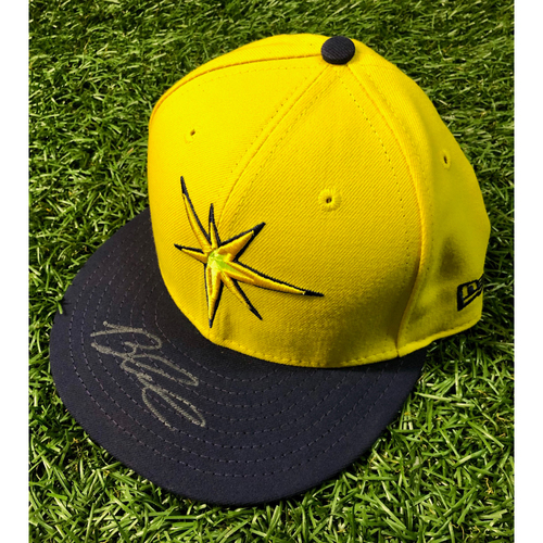 Photo of Rays Baseball Foundation: Game Used Autographed Player's Weekend Cap: Brandon Lowe (Rookie Season) - August 26, 2018 v BOS