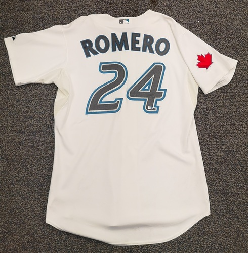 Photo of Authenticated Game Used Jersey - #24 Ricky Romero (Apr 12, 10: Home Opener). Size 48.