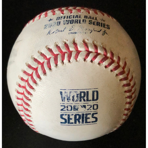 Photo of Game-Used Baseball - 2020 World Series - Los Angeles Dodgers vs. Tampa Bay Rays - Game 4 - Pitcher: Diego Castillo, Batters: A.J. Pollock (Walk), Cody Bellinger (Strike Out Swinging), Chris Taylor (Foul) - Top 6