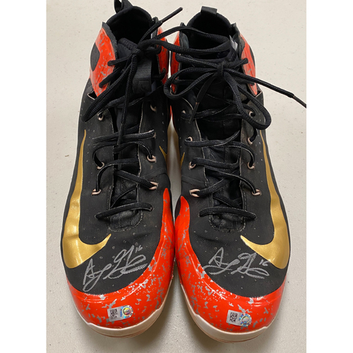 Photo of 2020 Black Friday Sale - #16 Aramis Garcia Team Issued Autographed Orange & Black Nike Cleats - Size 14