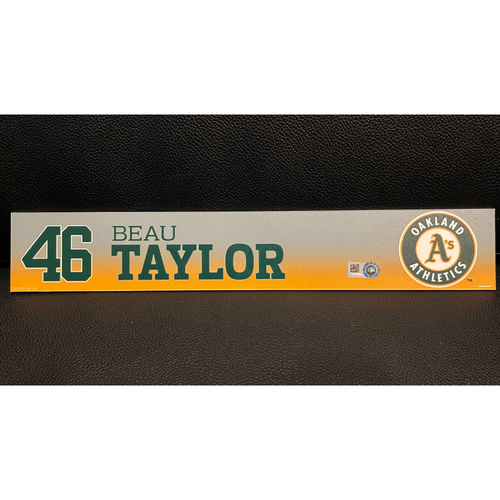 Photo of Beau Taylor Game-Used 2019 Spring Training Locker Nameplate