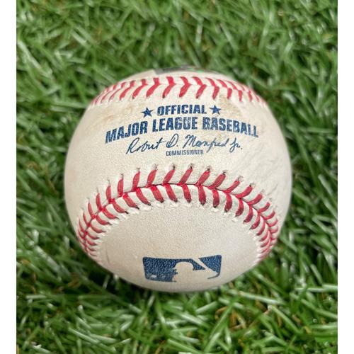 Photo of Game Used Baseball: Francisco Mejia double off Frankie Montas - Bottom 4 - April 27, 2021 v OAK