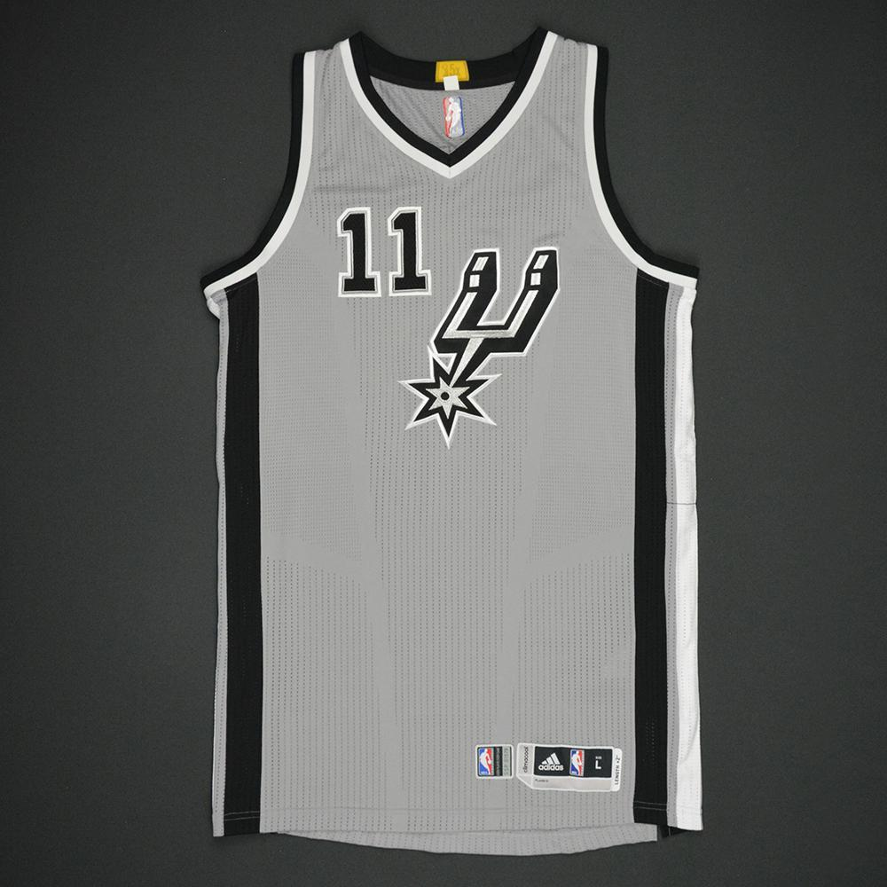 2eb27b69301c Bryn Forbes - San Antonio Spurs - Gray Playoffs Game-Worn Jersey - 2016-