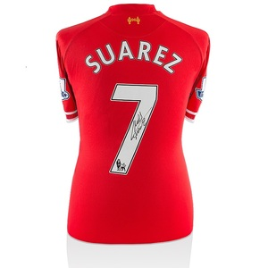 Photo of Luis Suarez Signed and Match Worn Liverpool 2013-14 Home Shirt