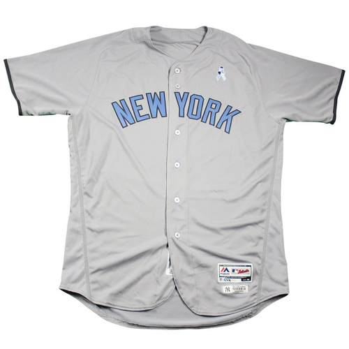 Photo of Greg Bird New York Yankees 2017 Team Issued # 33 Road Jersey. Jersey Size - 48