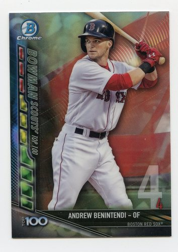Photo of 2017 Bowman Chrome Scouts Top 100 Refractors #BTP4 Andrew Benintendi