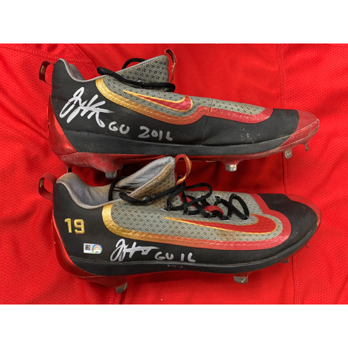 Photo of Joey Votto -- Autographed 2016 Road Cleats -- Inscribed as