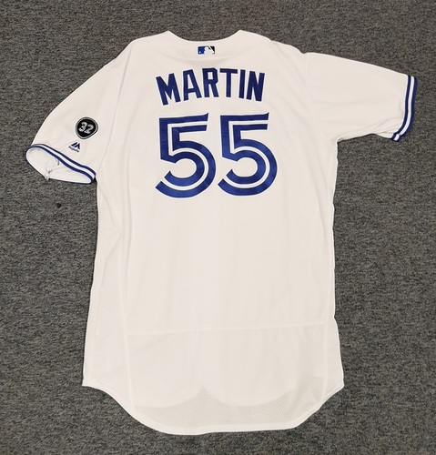Photo of Authenticated Game Used Jersey - #55 Russell Martin (July 23, 18). Size 46.