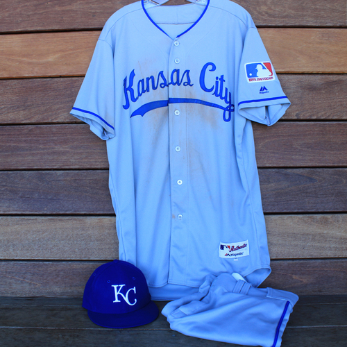 Photo of Game-Used 1969 Throwback Jersey, Pants and Cap: Whit Merrifield 565th Career Hit and 100th Career Stolen Base (Jersey Size 44 - KC @ WSH  - 7/6/19)