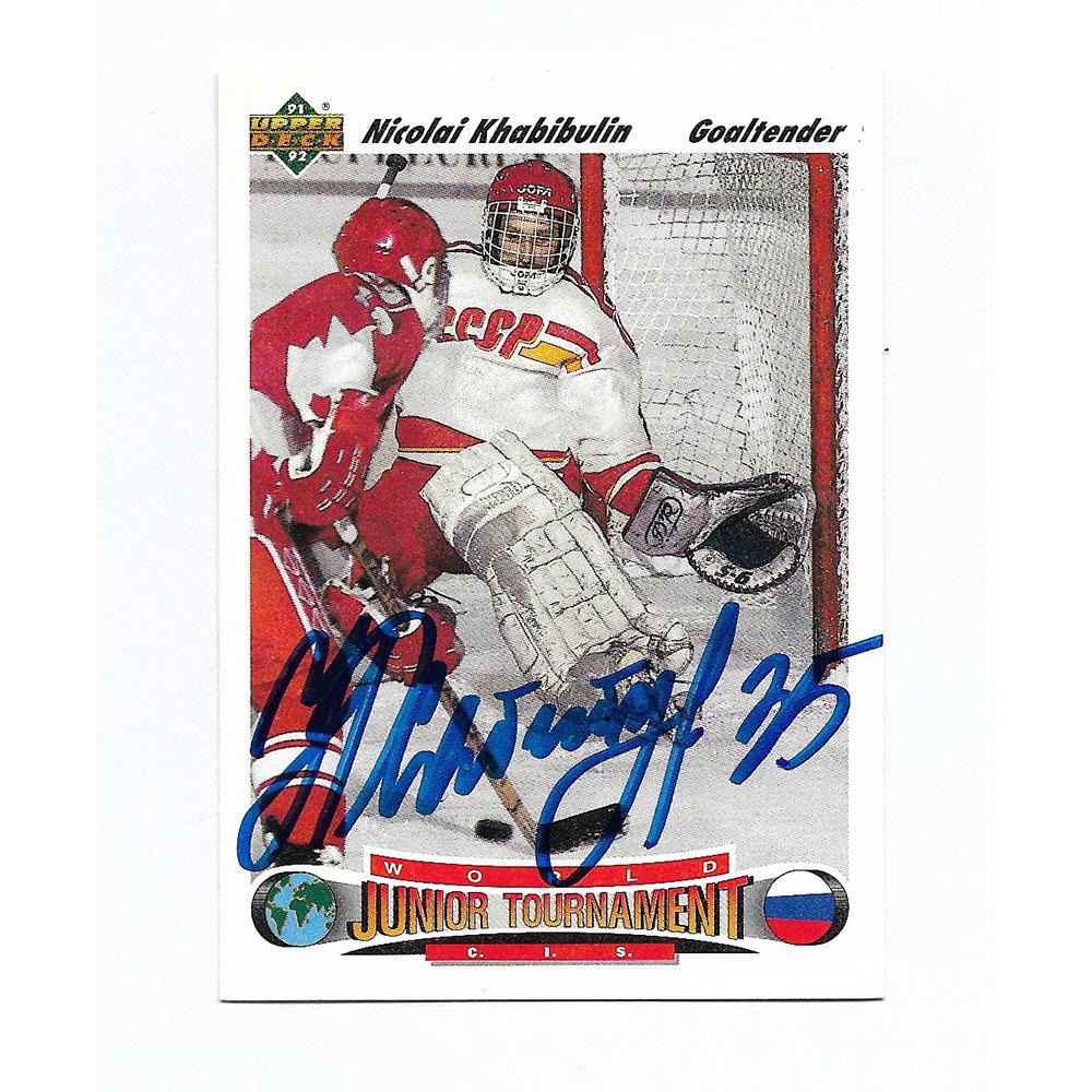 Nikolai Khabibulin Autographed Upper Deck 1991-92 Rookie Card