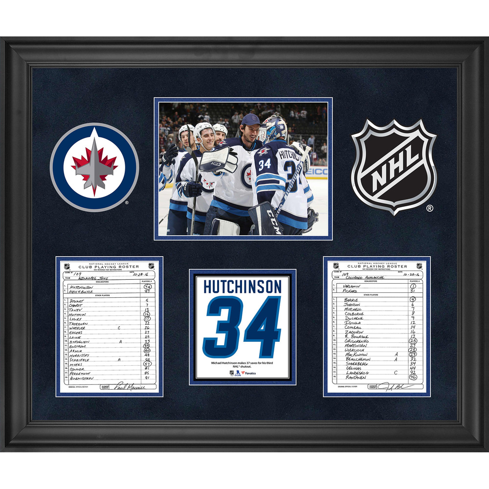 Winnipeg Jets Framed Original Line-Up Cards from October 18, 2016 vs. Colorado Avalanche - Michael Hutchinson 3rd NHL Shutout