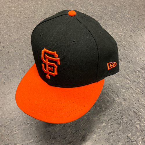 Photo of 2019 Game Used Orange Bill Cap worn by #13 Will Smith on 9/27 vs. Los Angeles Dodgers - Size 7 3/4