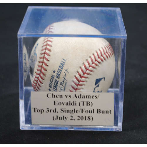 Photo of Game-Used Baseball: Wei-Yin Chen vs Willy Adames/Nathan Eovaldi (TB), Top 3rd, Single/Foul Bunt (July 2, 2018)