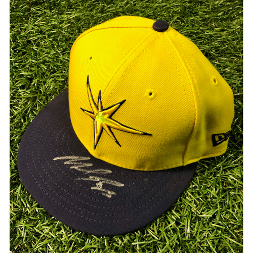 Photo of Rays Baseball Foundation: Game Used Autographed Player's Weekend Cap: Michael Perez (Rookie Season) - August 26, 2018 v BOS