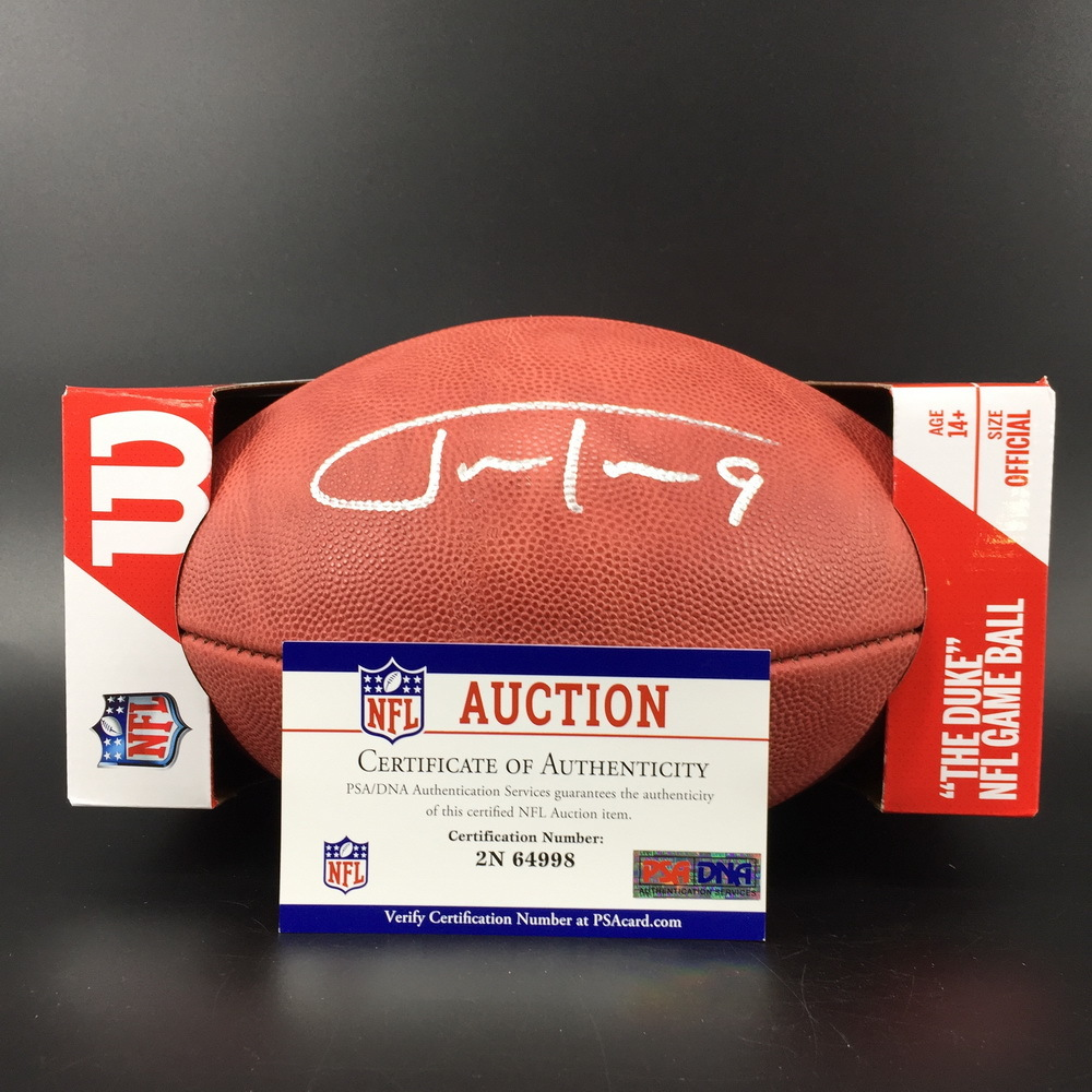 NFL - Ravens Justin Tucker Signed Authentic Football W/ 100 Seasons Logo