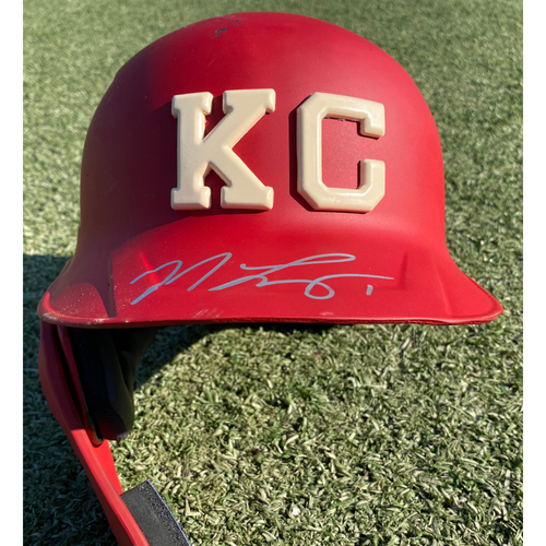 Photo of Autographed/Game-Used Monarchs Helmet: Nicky Lopez #1 (STL @ KC 9/22/20) - Size 7 1/4
