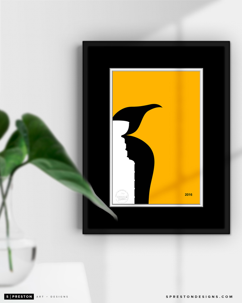 Pittsburgh Penguins Minimalist Stanley Cup 2016 Limited Edition Art Print (#6/108)