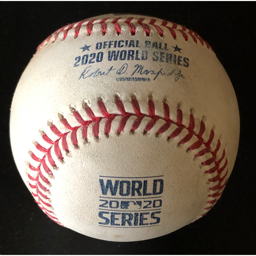 Photo of Game-Used Baseball - 2020 World Series - Los Angeles Dodgers vs. Tampa Bay Rays - Game 4 - Pitcher: Julio Urias, Batters: Yandy Diaz (Strike Out on Foul Tip), Randy Arozarena (Foul) - Bot 1