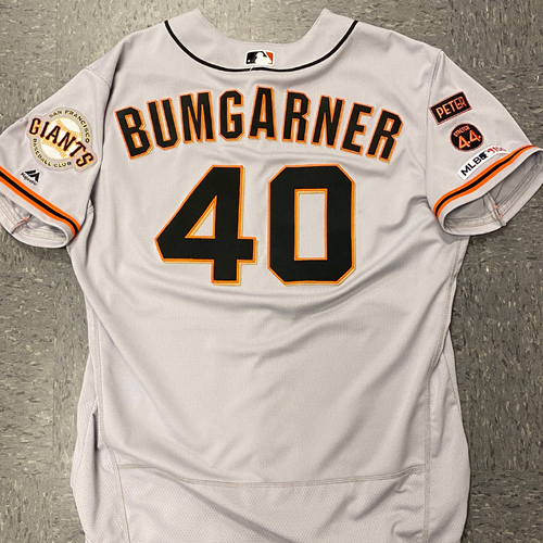 Photo of 2020 Cyber Monday Sale - #40 Madison Bumgarner 2019 Game Used Road Jersey used on 6/20 @ LAD - 3.2 IP, 3 K's - Size 50