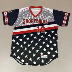 Photo of Patriotic Game Worn Autographed Jersey #16 Size 46 Shane Davis