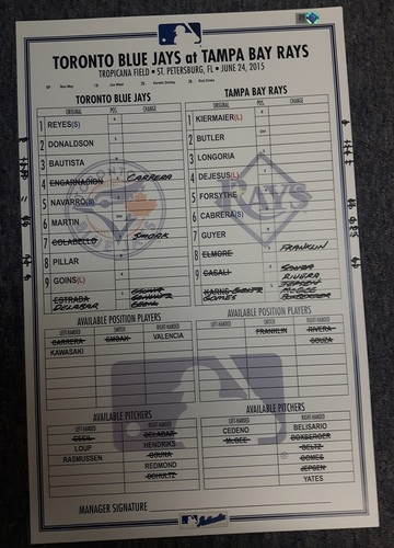Photo of Authenticated Game Used Line-Up Card - June 24, 2015: Estrada took No-Hitter into 8th Inning for a 2nd Consecutive Start/Josh Donaldson's Diving Catch into the crowd. 11 inches by 17 inches.