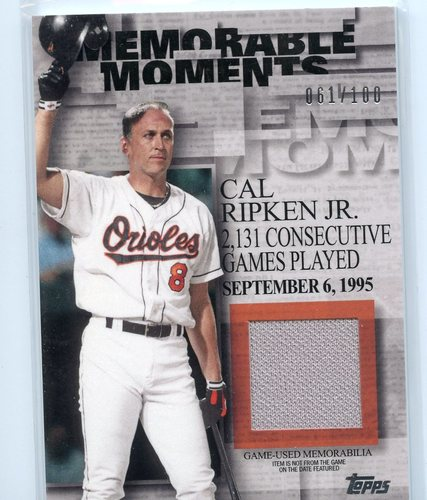 Photo of 2017 Topps Memorable Moments Relics #MMRCR Cal Ripken Jr.