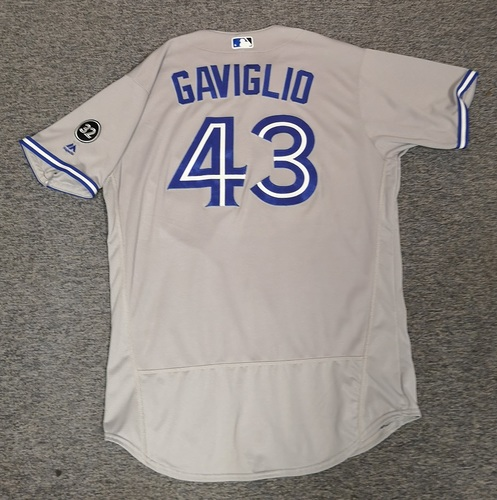 Photo of Authenticated Game Used Jersey - #43 Sam Gaviglio (Aug 15, 18. Sept 13, 18: 3.1 IP, 6 Hits, 2 ER, 1 BB, 1 K). Size 48.