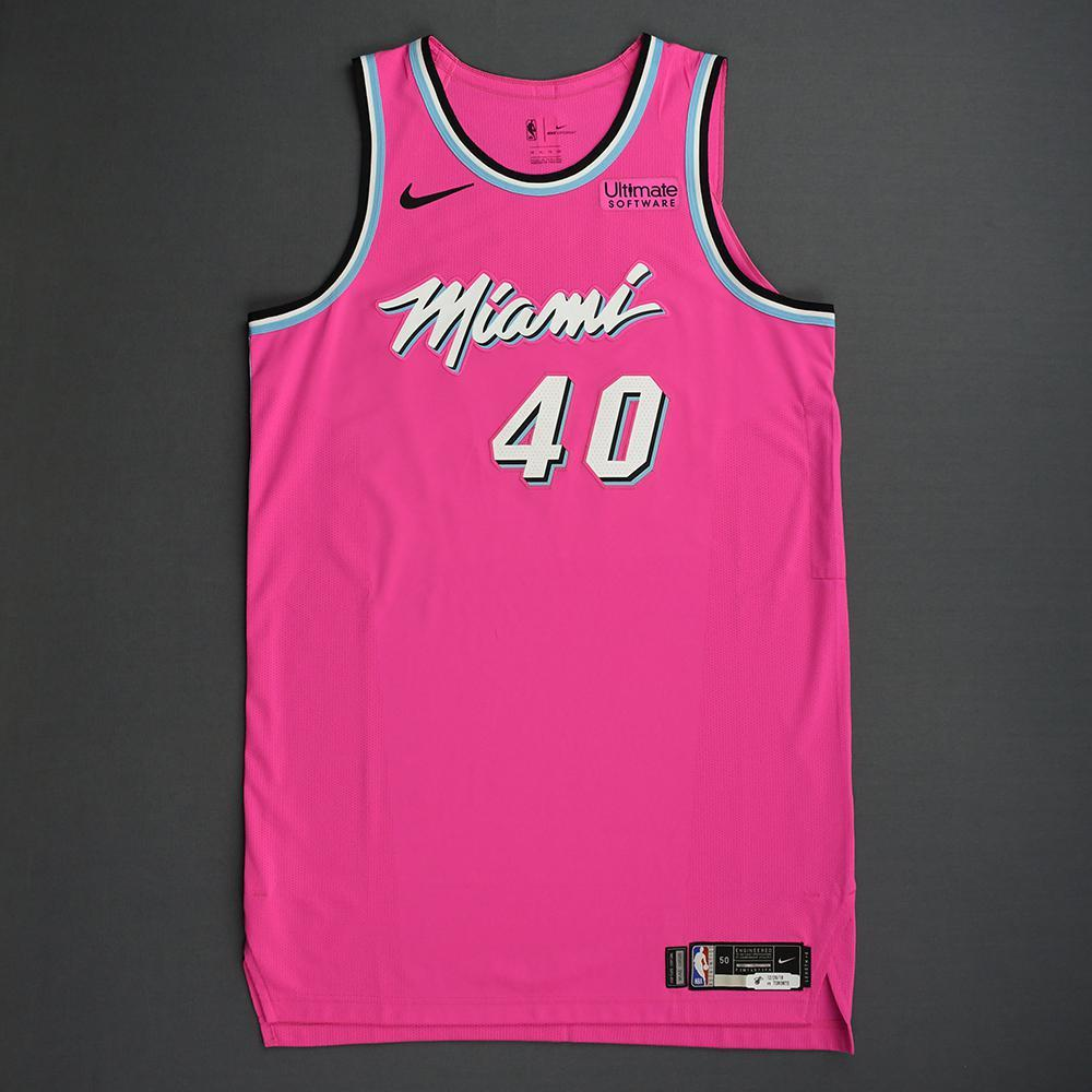 Udonis Haslem - Miami Heat - 2018-19 Season - Game-Worn Pink Earned Edition Jersey - Dressed, Did Not Play