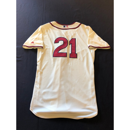 Michael Lorenzen -- Game-Used 1935 Throwback Jersey (Relief Pitcher: 1.0 IP, 0 R, 2 K) -- Rangers vs. Reds on June 15, 2019 -- Jersey Size 44