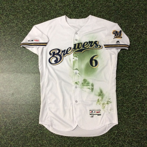 """Photo of Lorenzo Cain 03/28/19 Game-Used Opening Day Jersey - """"Not Today!"""" Game-Ending HR Robbery"""