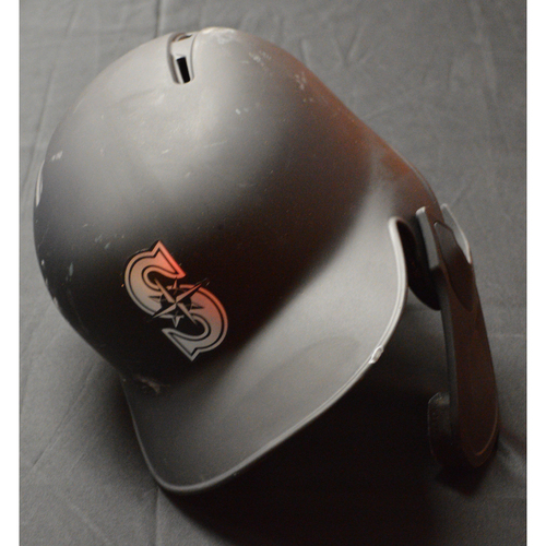 "Photo of Keon ""C.J."" Broxton Seattle Mariners Game-Used 2019 Players' Weekend Helmet"
