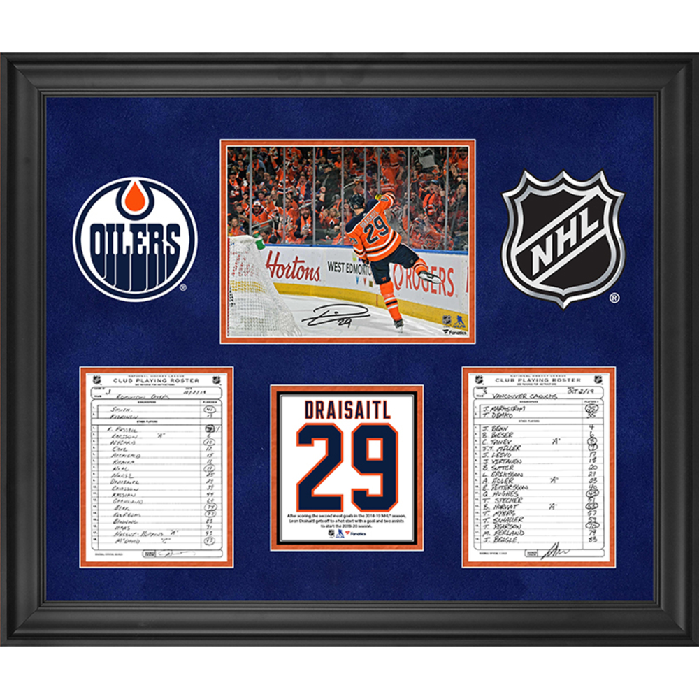 Edmonton Oilers Framed Autographed Original Line-Up Cards from October 2, 2019 vs. Vancouver Canucks with Leon Draisaitl Autographed 8x10 - Leon Draisaitl Three Points in 2019-20 Season Opener