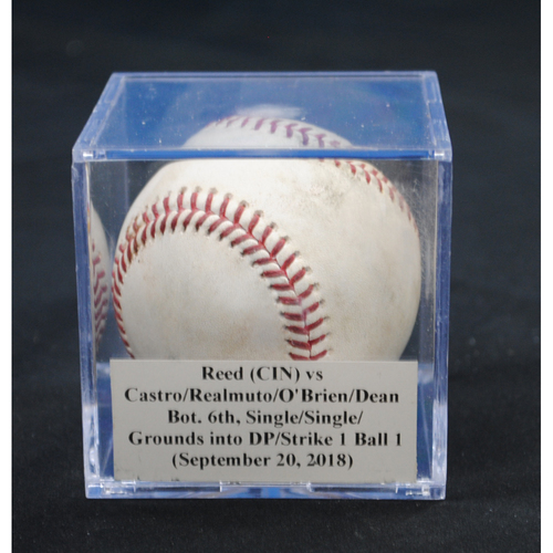 Photo of Game-Used Baseball: Cody Reed (CIN) vs Starlin Castro/J.T. Realmuto/Peter O'Brien/Austin Dean, Bot. 6th, Single/Single/Grounds into DP/Strike 1, Ball in Dirt (September 20, 2018)