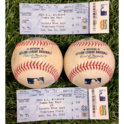 Photo of A.L. Wild Card Series Game Used Baseball and Ticket Package: Diego Castillo, Tyler Glasnow, Lourdes Gurriel and Vladimir Guerrero Jr. - September 29-30, 2020 v TOR