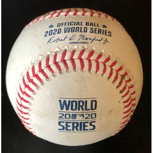 Photo of Game-Used Baseball - 2020 World Series - Los Angeles Dodgers vs. Tampa Bay Rays - Game 4 - Pitcher: Aaron Loup, Batter: Corey Seager (Single to Right Field) - Top 7