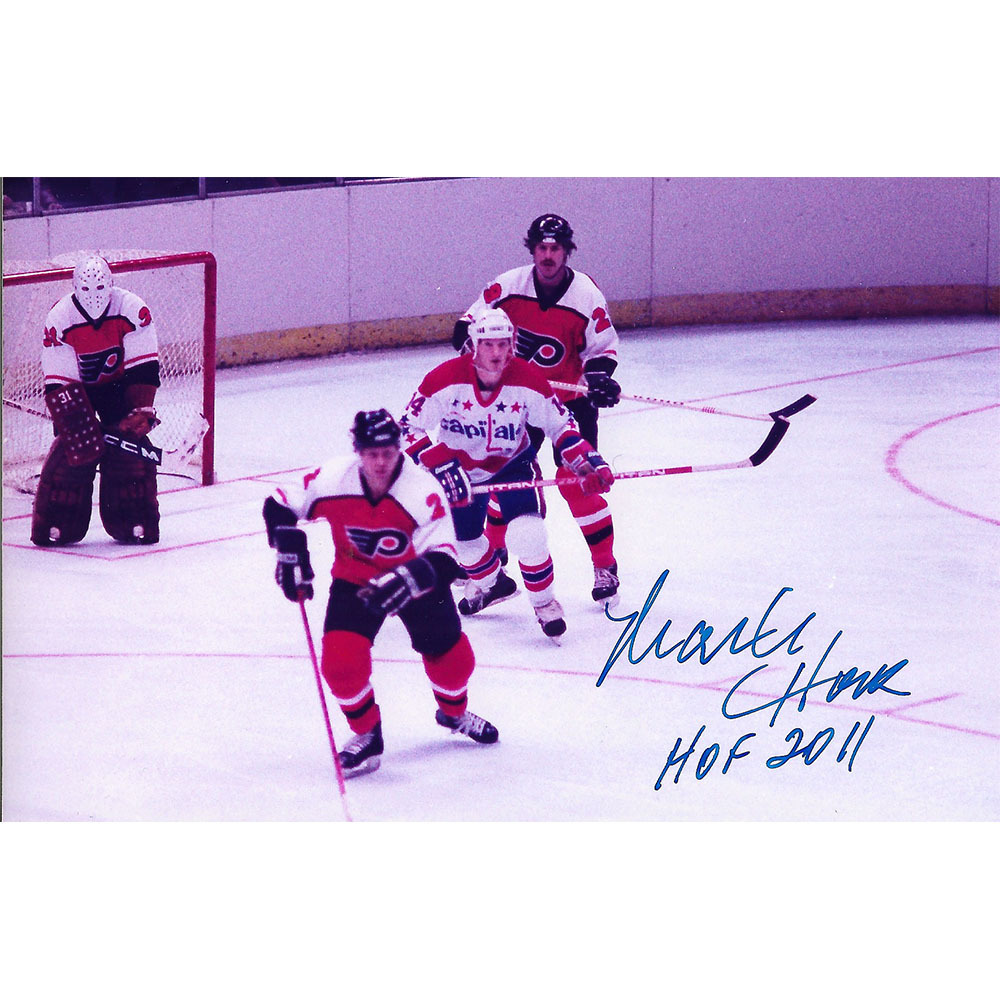 Mark Howe Autographed Philadelphia Flyers 3X4 Photo w/HOF 2011 Inscription