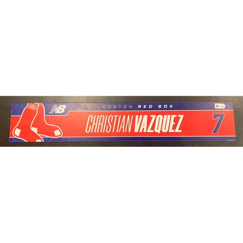 Photo of Christian Vazquez April 7, 2021 Game Used Locker Tag