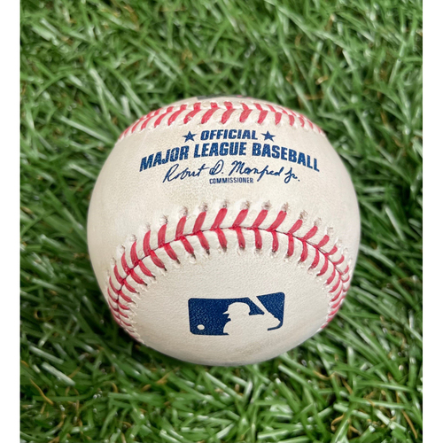 Photo of Game Used Baseball: Manuel Margot ground out off Gerrit Cole - Gerrit Cole's 1500th K Game - Bottom 4 - May 12, 2021 v NYY