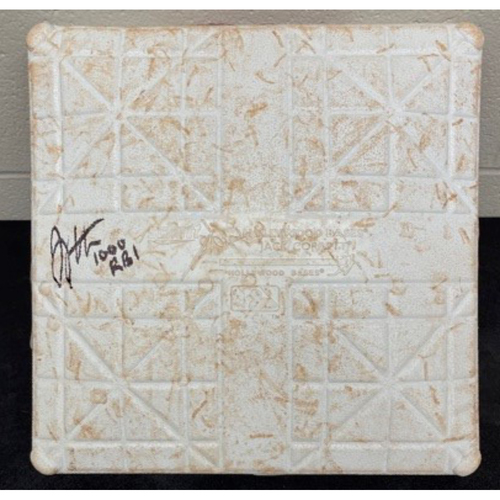 Photo of Joey Votto *Game-Used, Autographed & Inscribed* Second Base (Innings 1-4) -- Used On Field for Joey Votto's 1,000th Career RBI -- SD vs. CIN on 06/30/2021