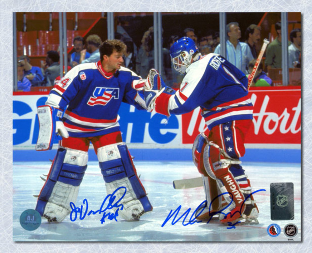 Mike Richter & John Vanbiesbrouck USA Hockey Dual Signed American Goalie 8x10 Photo *New York Rangers*