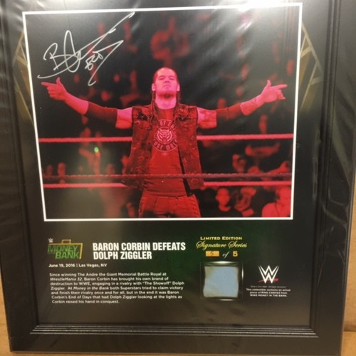 Baron Corbin SIGNED Money In The Bank 2016 15 x 17 Framed Ring Canvas Photo Collage